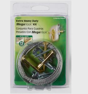 New!! Hillman MEGAHOOK Silver Brass EXTRA HEAVY DUTY KIT 100 lb. 1 pack 122411