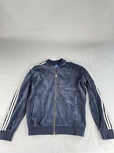 Adidas Men's Originals Velour Superstar Blue Jacket Size L AY9222