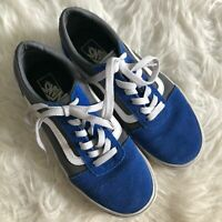 VANS Old Skool Boys Youth Sz 3 Blue Suede Gray Canvas Lace Up Low Top Sneakers
