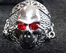 Stainless Steel Mens Biker Red Crystal Eye Skull Ring - G5004c509 sz 9