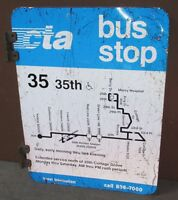Vtg 2 Sided CTA Bus Stop 35 35TH Chicago Aluminum Sign 24 x 18 S662