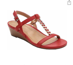 Vionic Women Cali T Strap Leather Gold Hardware Wedge Sandals RED Sz 10W NIB