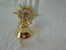Ships Wheel Brass Bell with Rope Nautical / Bar Pub Fire