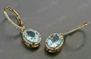 4Ct Oval Cut Aquamarine Diamond Drop Dangle Earrings In 14K Yellow Gold Finish