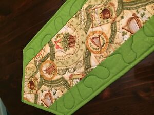 Handcrafted-Quilted Table Runner-St. Patrick's -Looking for Pot of Gold -Glitter