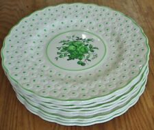 9 Spode Daisy Green Embossed Luncheon Plates Floral Fruit Center Dots Rockingham