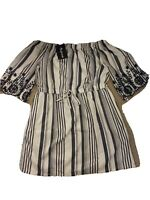 Style House New York Size 2x NWT Dress White Blue Stripes Embroidery on sleeves