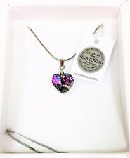 MAREA 100% SWAROVSKI PURPLE IRIDESCENT CRYSTAL HEART,SILVER SNAKE CHAIN NECKLACE