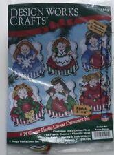 ANGEL ORNAMENTS Cross Stitch plastic canvas set of 6