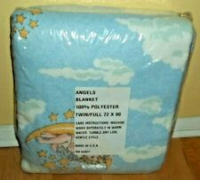 "ANGELS - MOON - STARS - CLOUDS Print Blanket Twin / Full 72 X 90"" / NIP"