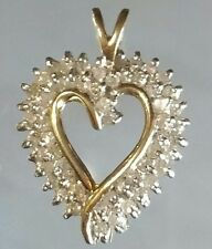 Dream Lady 10k solid yellow gold open heart diamond pendant