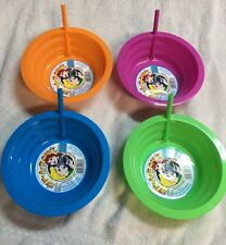 Set 4 Sip-A-Bowl 22oz- Built In Straw - Made USA Soup Cereal Ice Cream Sippy