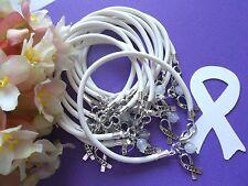 1 DZ LUNG CANCER AWARENESS  BRACELETS/WHITE /'HOPE' RIBBON CHARM