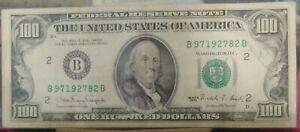 1990 $100 FRN B 97192782 B W/PRINTING ERROR.