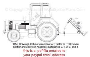 3-Point Hitch Tractor Vertical Wood-Log Splitter Plans, 3pt 20 - 50 Ton Models