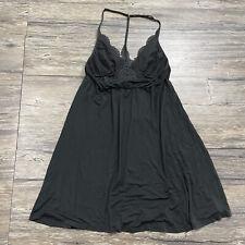 Victorias Secret Racerback Nightgown Black Lace Jersey Women's Sz M