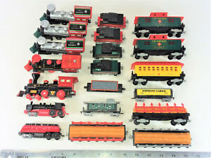 """TOY PLASTIC TRAINS GALORE! 20 TRAINS, 20 PIECES OF TRACK, 5 """"SIGNS""""- ALL NEW!"""