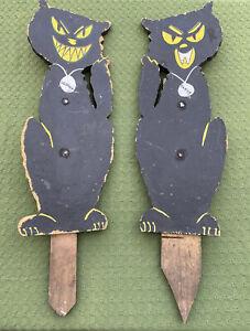 2 Vtg Handmade Wooden Halloween Lawn Decor Ornaments BLACK CATS Damon Demon