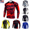 Mens Compression Base Layer Top T-shirt Thermal Long Sleeve Under Shirt Body Tee