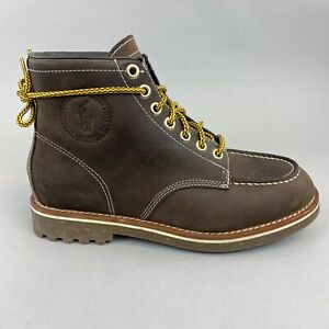 POLO RALPH LAUREN Marvin Brown Leather Ankle Lace Up Chukka Desert Boots US7 UK6
