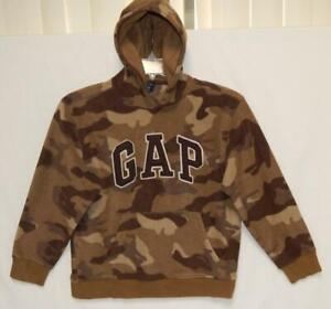 "GAP Kids Boys ""Big Logo"" Army Green Camouflage Fleece Hoodie Size Large (10)"