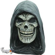 * Adulto Grim Reaper cráneo Cuello Cabeza Completa Látex Horror Halloween Vestido de fantasía Máscara *