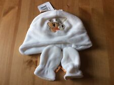 Baby Girl Boy Fleece White Winter Hat And Scratch Mittens Size 0-6 Months
