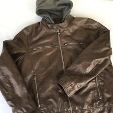 Guess Coat Jacket Mens Extra Large Faux Leather Detachable Sweatshirt Hoodie XL