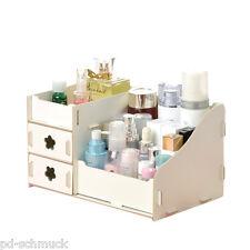 1 Weiß Aufbewahrungsbox Organizer Kosmetik Make-up Box Holz 25x16x13.5cm