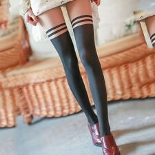 Black Sexy Twin Black Stripe Tattoo Tights - UK Seller