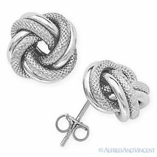 Love Knot Rope Studs Sterling Silver 12mm Stud Fashion Earrings - Ladies Womens