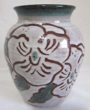 SIGNED CROW VALLEY POTTERY ORCAS ISLAND WA VASE FLOWERS