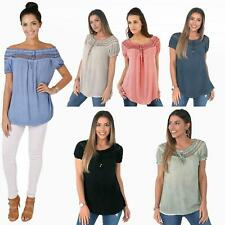 Womens Off Shoulder Blouse Gypsy Boho Cotton T Shirt Top Tunic Summer Loose Fit