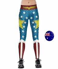 Women Lady Wonder woman Costume Party Skinny Stretch Leggings Pants Jeggings 015