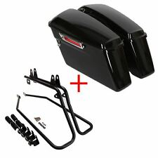Black Hard Saddlebags Saddle Bag W/Conversion Brackets FOR HARLEY SOFT TAIL