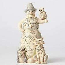 Jim Shore White Woodland Snowman w/Owl Figurine ~ 4053688