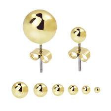 2018 New Men Women Stainless Steel Round Ball Earring Studs 6 Pair Assorted Size