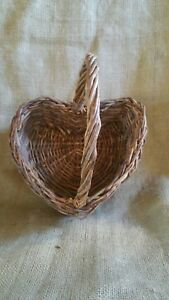 Natural Wicker Heart Shaped Table Basket with Handle EUC
