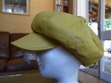 CASQUETTE CUIR JAUNE tour de tête 56,5cm VINTAGE 70 LEATHER CAP / GORRA DE CUERO