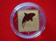 2011 $3 Wildlife Series - Orca Whale Silver Gold Plated Square Coin - No Tax