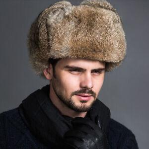 Men Winter Warm Faux Fur Cap Russian Ushanka Cossack Military Outdoor Ski Hats