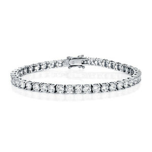 Jewelco London Rhodium Sterling Silver CZ Claw set Tennis Bracelet