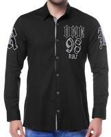 Redbridge Jeans Herren Hemden Rockabilly Hemd Freizeit T-Shirt Langarm Schwarz