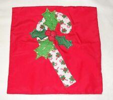 """Handmade 15"""" Square Christmas Candy Cane Pillow Case - Euc"""