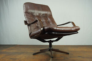 Vintage Armchair Swivel Chair Leather 60er Relax Easy Lounge Westnofa Era 60s