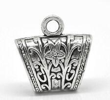 10 Antik Silber Blume Hohl Anhänger Perlen Schalhalter Tuchhalter Element