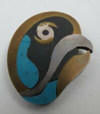 Vintage Modernist Taxco Metales Mixed Metal & Stone Parrot Brooch Pin