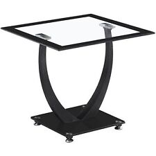 Seconique Living Room Furniture - Henley Lamp Table - Clear Glass & Black Border