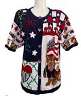 Eagles Eye patriotic sweater USA short sleeve button front Vintage Size L