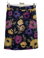 LAURA ASHLEY SKIRT, PENCIL, NAVY, FLORAL, COTTON & SILK MIX FABRIC, LINED, UK 8.